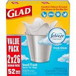 Glad Small Trash Bags - OdorShield 4 Gallon White Trash Bag - Febreze Fresh Clean - 52ct