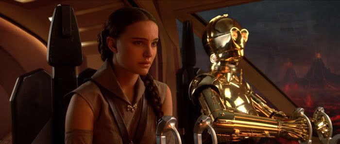 Padme looking somber as her ship arrives on Mustafar.