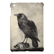 Black Raven Bird Sitting Upon Shrunken Skulls Case For The iPad Mini