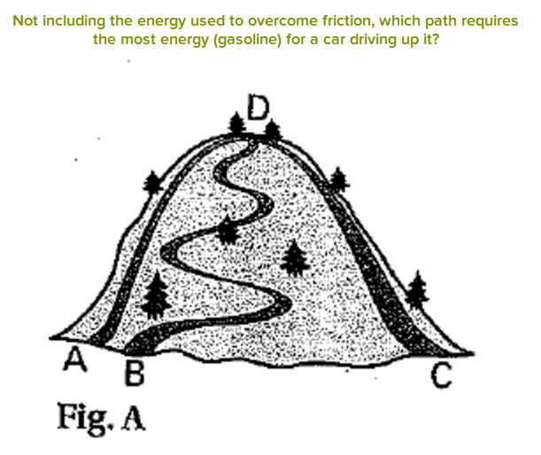Not including the energy used to overcome friction, which path requires the most energy for a car driving up it?  a hill with three paths of varying lengths to the top.