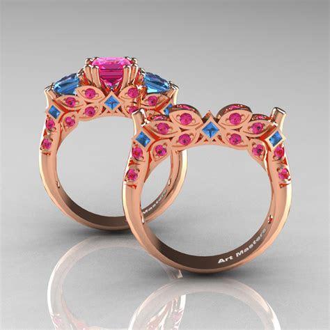 Classic 14K Rose Gold Three Stone Princess Pink Sapphire