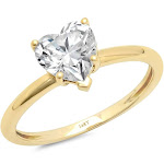 Brilliant Heart Cut Diamond Engagement / Anniversary Ring Solid 14k Yellow Gold - 5 by Clara Pucci