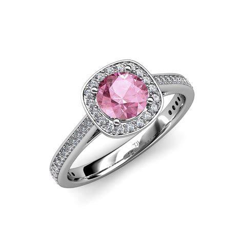 Pink Tourmaline & Diamond (SI2 I1, G H) Halo Engagement