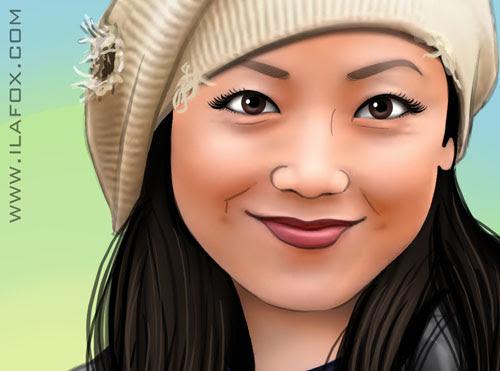 Ilustração realista, Sheren Tang sorrindo