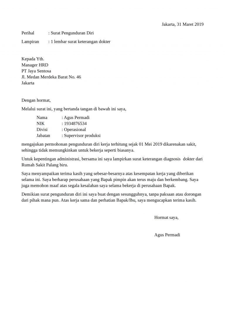 contoh surat pengunduran diri karena sakit yang baik dan