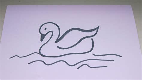 draw  swan simple drawing tutorial  kids youtube