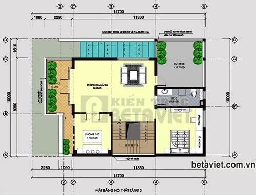 Tư vấn thiết kế biệt thự 3 tầng sang trọng, DT 10x14,7m   ảnh 4