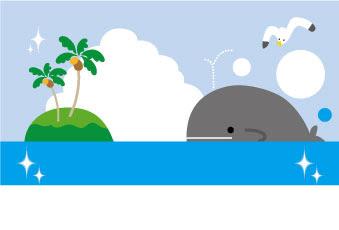 かわいいクジラのイラストの暑中見舞いテンプレート素材 無料素材