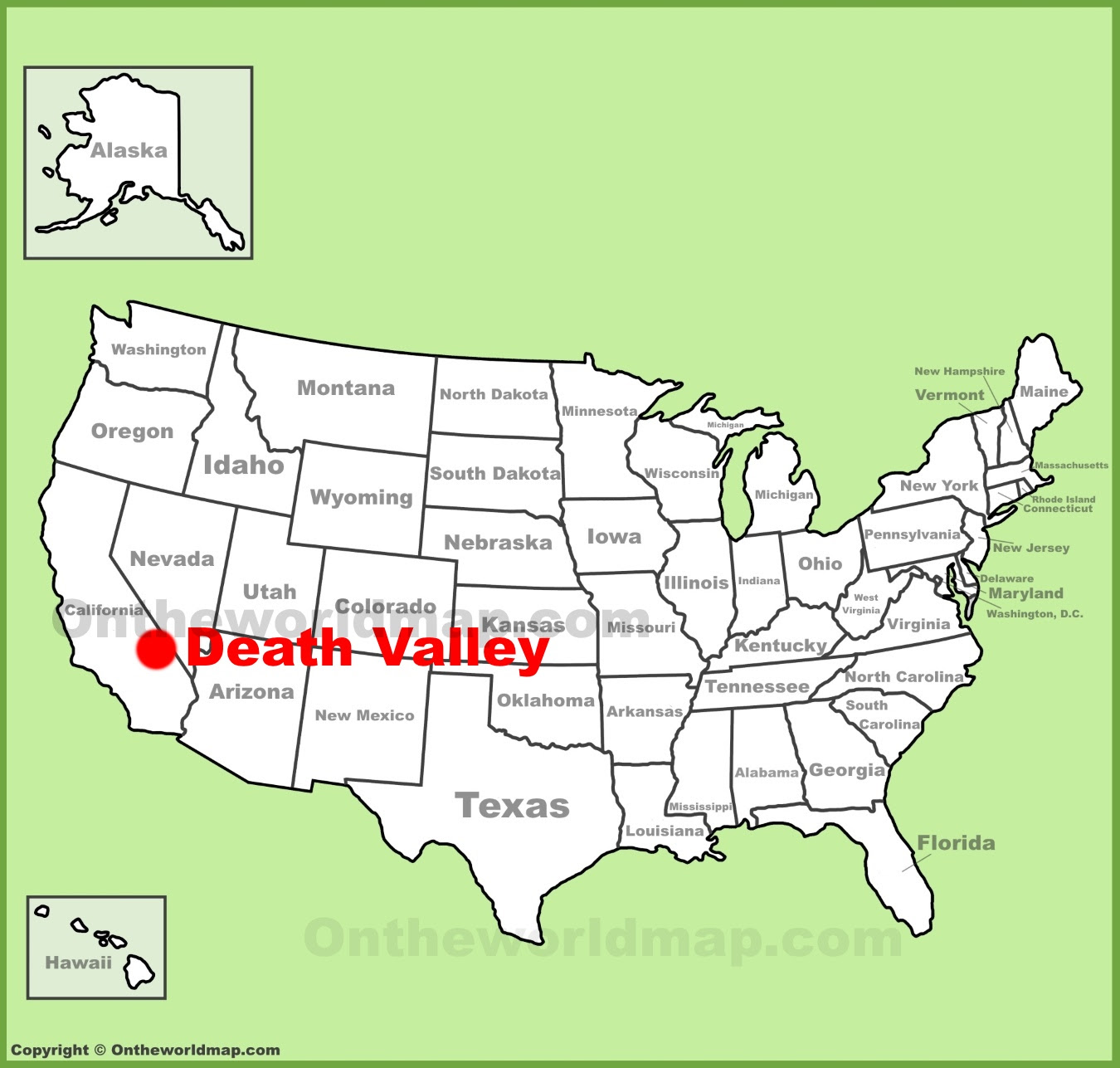 death valley location on the us map