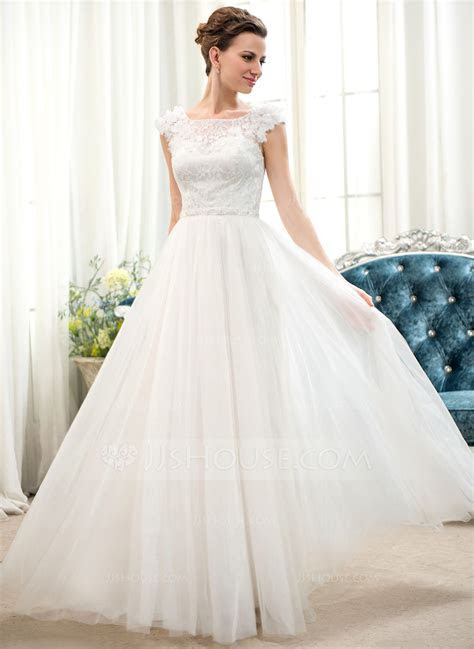A Line/Princess Scoop Neck Floor Length Tulle Lace Wedding