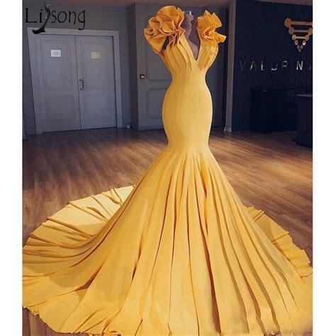 Sexy Yellow Plus Size Mermaid Evening Dress 2019 Fashion