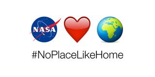 NoPlaceLikeHome emojis: NASA logo, heart, Earth