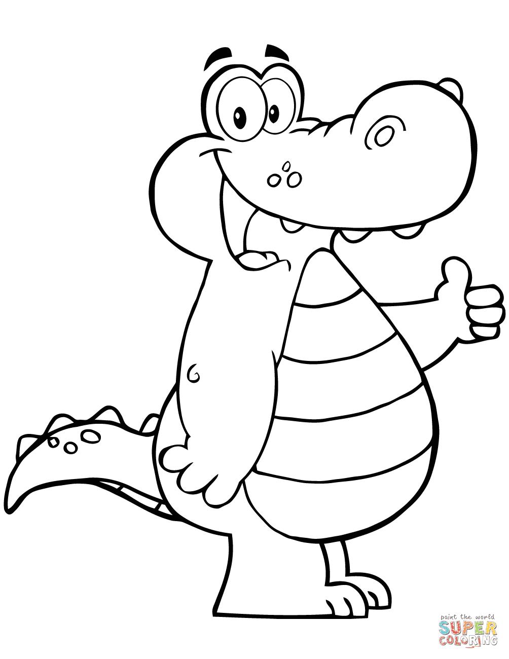 Dibujo De Cocodrilo De Dibujos Animados Para Colorear Dibujos Para
