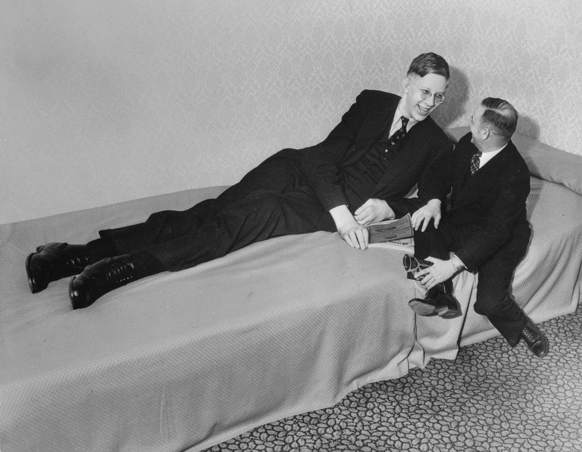 As a 19-year-old, Wadlow stretched to a height of 8 feet 7 inches and officially became the tallest man in the world.
