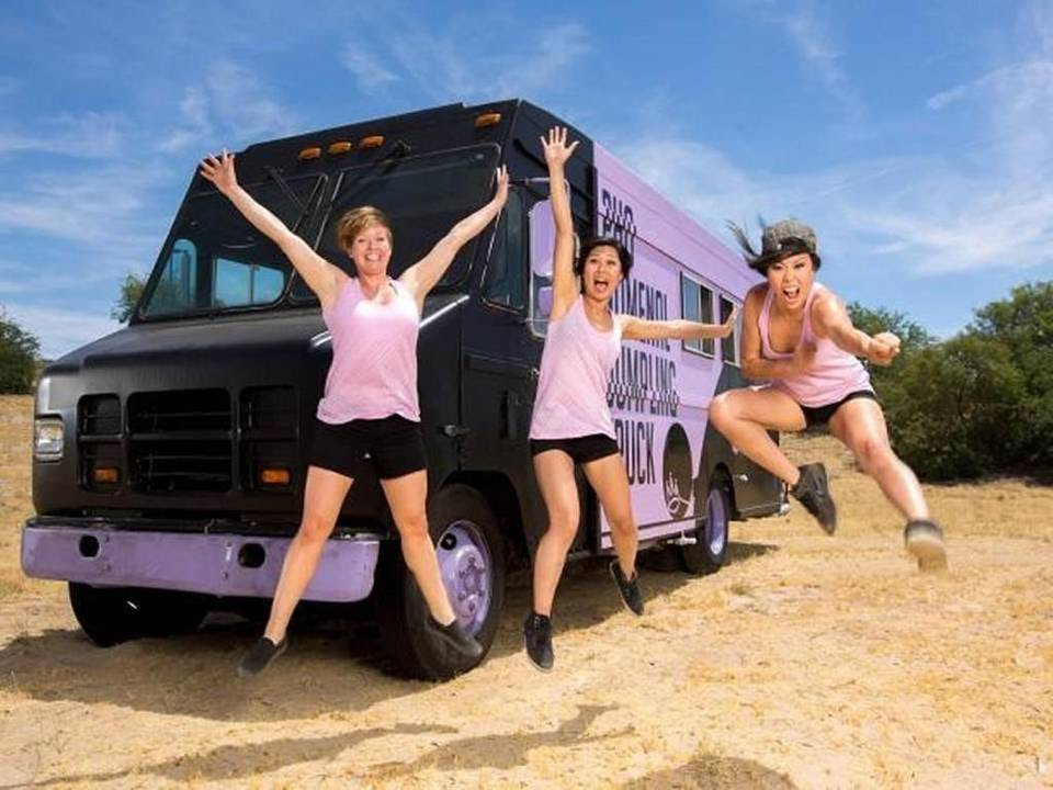 "Becca Ruffin, Sophia Woo and Sunny Lin of the Raleigh-based Pho Nomenal Dumpling Truck. The truck is in the finale of ""The Great Food Truck Race"" on the Food Network."