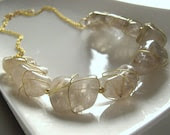 Gold Rutilated Quartz - wire wrapped necklace - gold plated