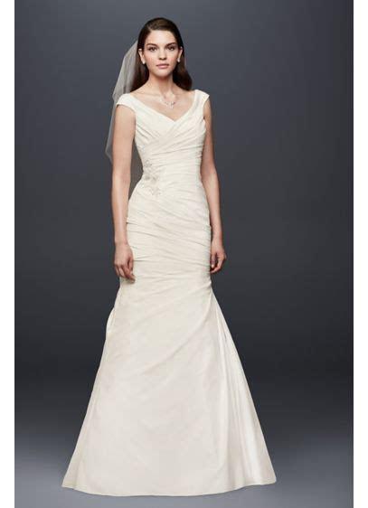 Draped Taffeta V Neck Wedding Dress with Applique   David