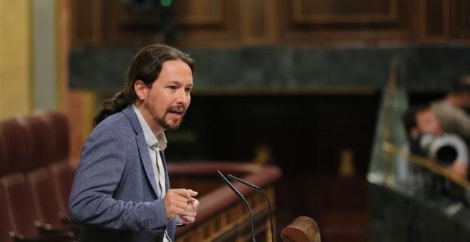 El secretario general de Podemos, Pablo Iglesias, en la tribuna del Congreso de los Diputados. E.P.