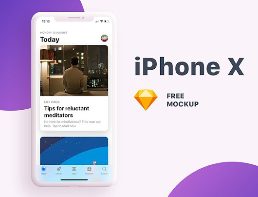 Free Modern iPhone X Screen Mockup For Sketch - TitanUI