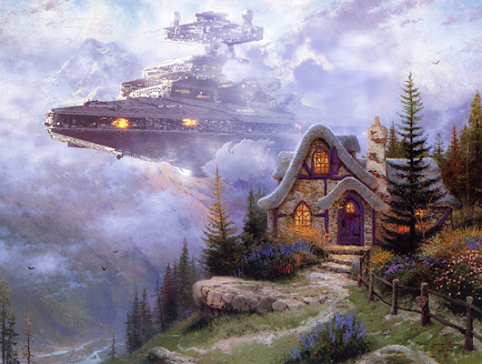 Artist Adds Star Wars Themes to Famous Thomas Kinkade Paintings