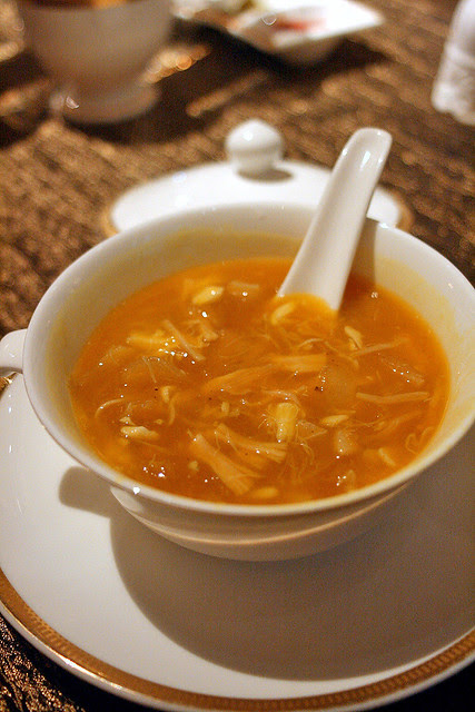 Pumpkin Superior Broth with Shark's Fin, Crab Meat and Dried Scallop