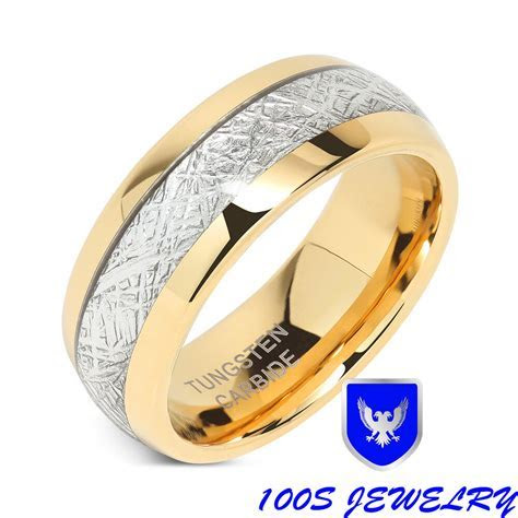 8mm Mens & Womens Tungsten Carbide Ring Meteorite Inlay