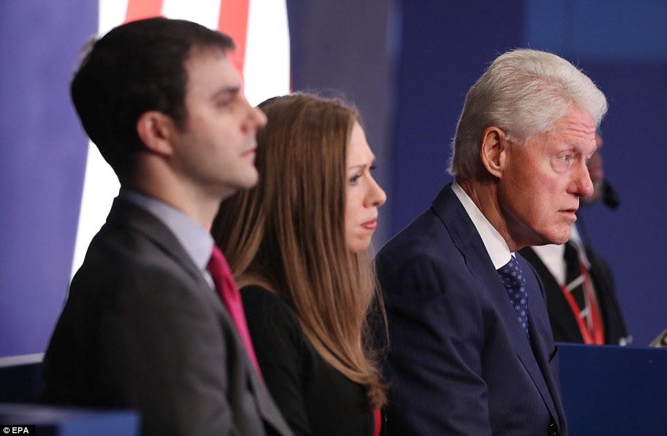 Foco: Bill Clinton foi repetidamente o foco do debate como Donald Trump levantou alegações de que ele estava ab abusador de mulheres, enquanto Hillary citou o seu histórico econômico no escritório