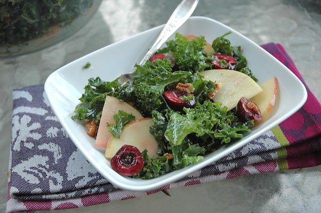 Four and Twenty Blackberries: Kale Apple Cherry Salad with Pecans