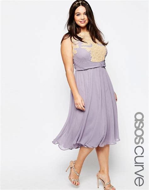 ASOS Curve   ASOS CURVE WEDDING Midi Dress with Lace Applique