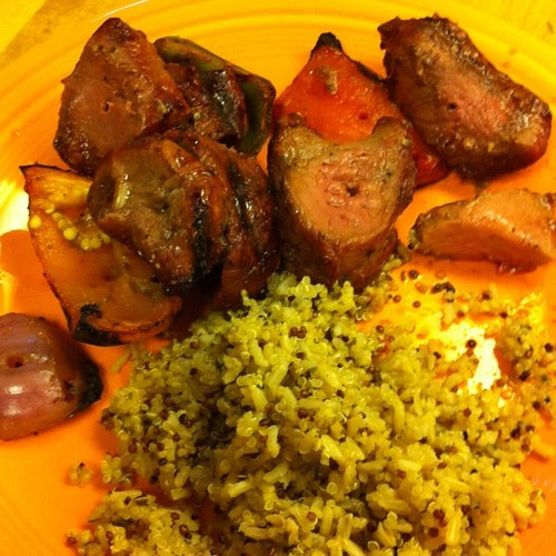 Black Pepper Steak Kebabs w/ Rosemary Quinoa Rice Blend