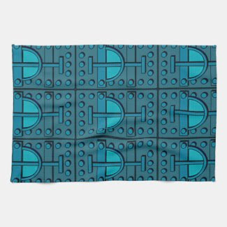 Kitchen Towel with Armored Teal Design
