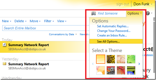 Outlook Web App Options