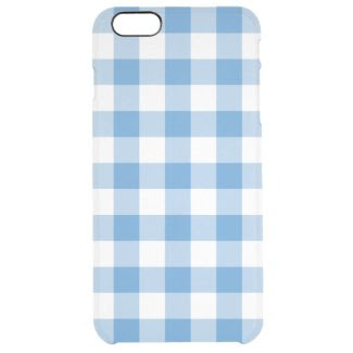 Light Blue and White Gingham Pattern Uncommon Clearly™ Deflector iPhone 6 Plus Case