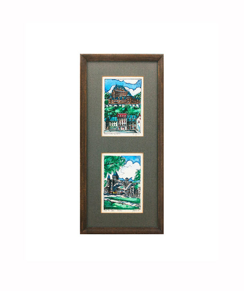 Two Ink and Watercolor Paintings Signed by Jacques Canadian Art, Bas Ville Quebec, Port St. Louis, Framed, Under Glass