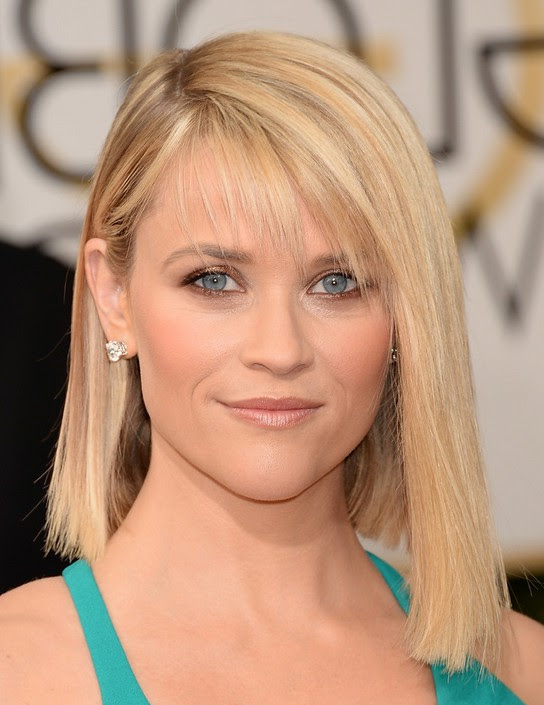 Reese Witherspoon Cute Asymmetrical Bob Haircut with Side ...