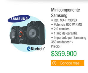 Minicomponente Samsung - • Ref. MX-H730/ZX • Potencia 600 W RMS  • 2.0 canales • 1 año de garantía • Importado por Samsung 350 unidades - Antes: $429.900PRECIO: $359.900