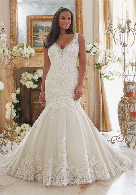 Plus Size Wedding Dress with Lace on Tulle   Style 3204