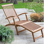 Coral Coast Wooden Lounge Chair Adjustable Chaise Outdoor Steamer Deck Furniture Garden