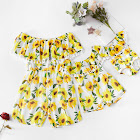 PatPat Yellow Mommy and Me Jumpsuits 12-18 mo Female Polyester - One-Shoulder Tassel Sunflower Printed Matching Jumpsuits