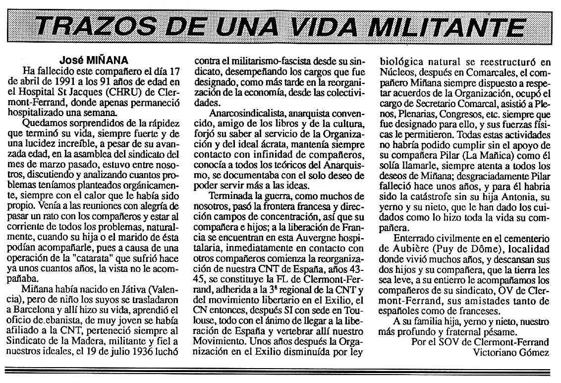 """Necrològica de Josep Miñana Torregrossa apareguda en el periòdic tolosà """"Cenit"""" del 21 de maig de 1991"""