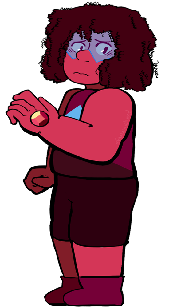 i quickly finished up my next part of the gemsona self challenge– it's-a rubyyy | lapis | amethyst | aquamarine | jasper | tree agate | golden rutile |