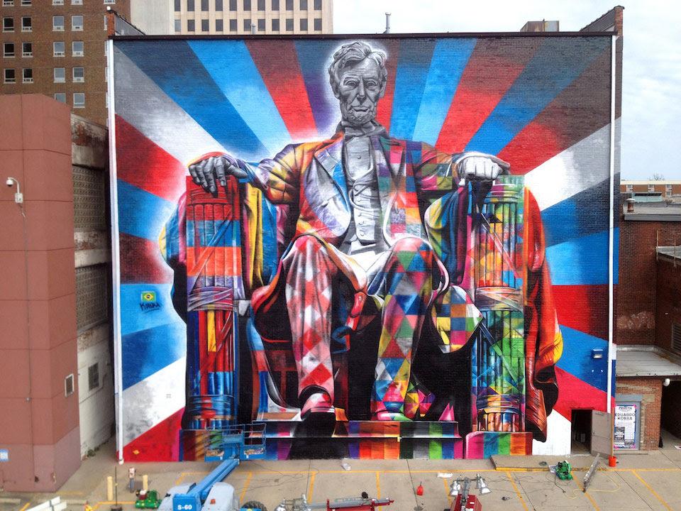 Street Art por Eduardo Kobra de Abraham Lincoln, em Kentucky, EUA 56456