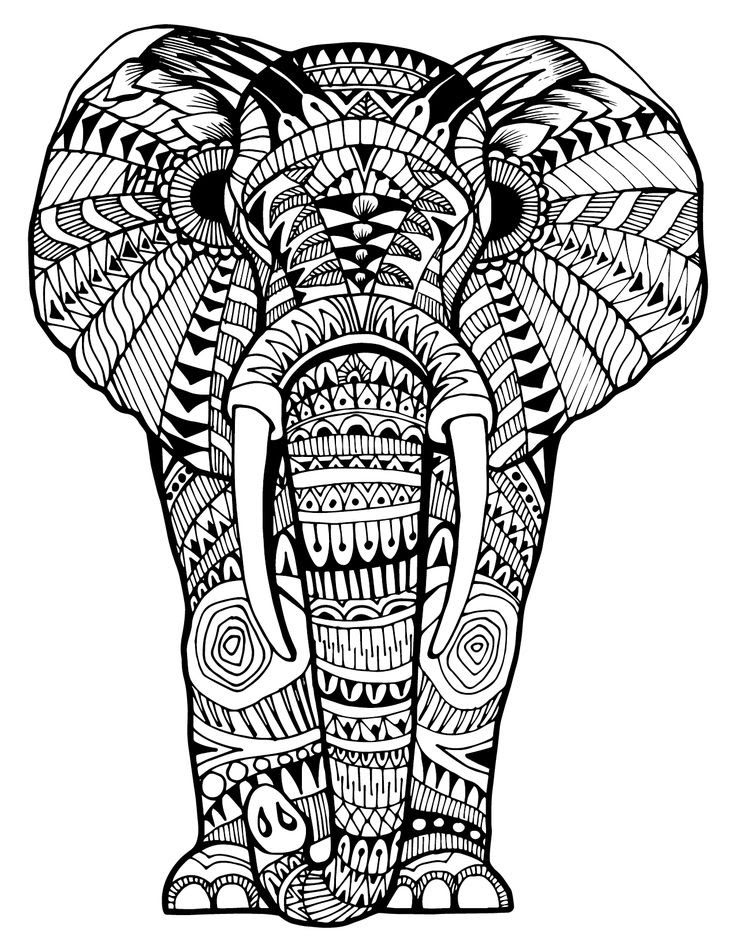 Intricate Elephant Coloring Pages at GetColorings.com ...