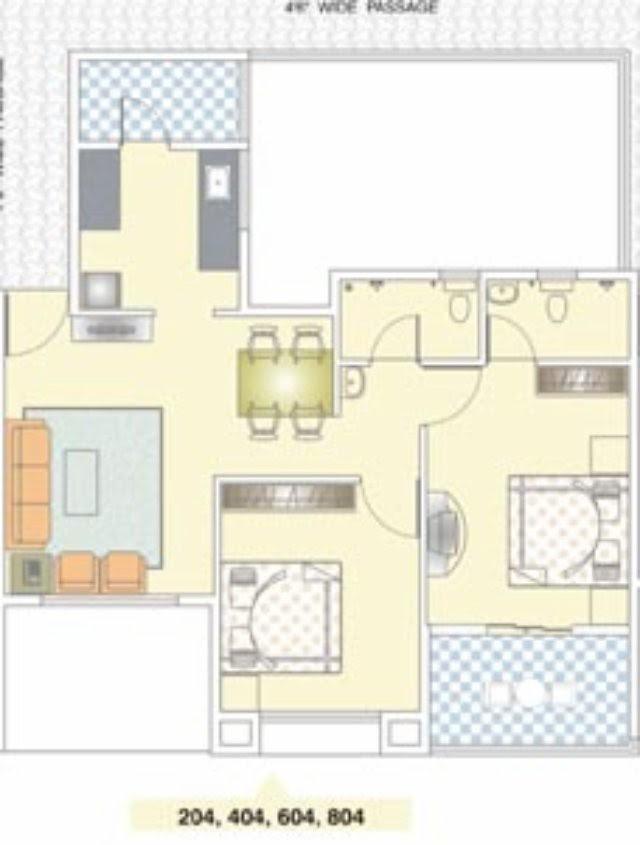 Nirman Viva 204 D 2 BHK Flat - 631 Carpet + Terrace for Rs. 41,18,900 + 5,000 Misc Charges + ST + VAT