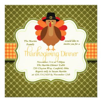 Elegant Rustic Cute Turkey Thanksgiving Dinner Invitation