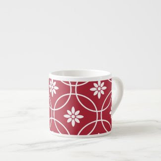 Red White Geometric Floral Pattern Espresso Mugs