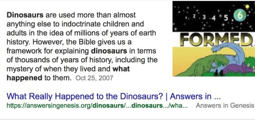 Why is Google giving a creationist answer to a question about dinosaurs?