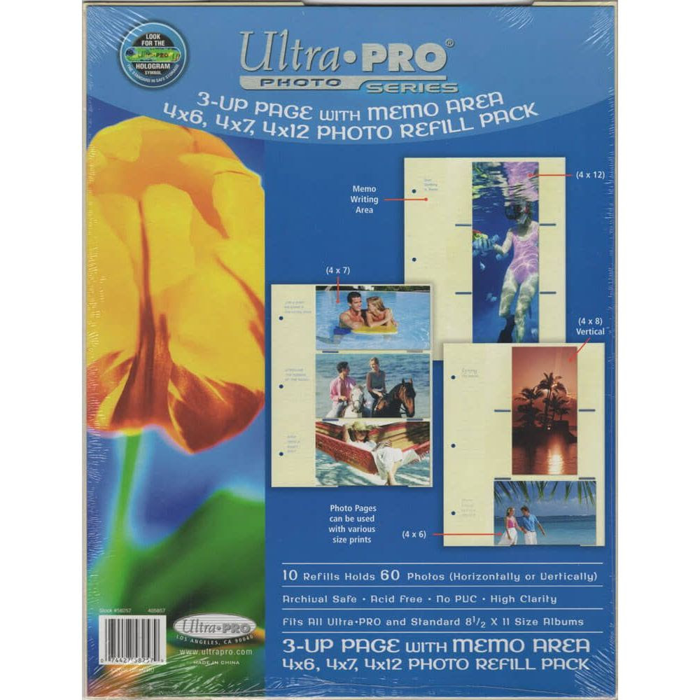 3 Up Page Photo Refill Pack Of 10 Ultra Pro Cinéma Passion