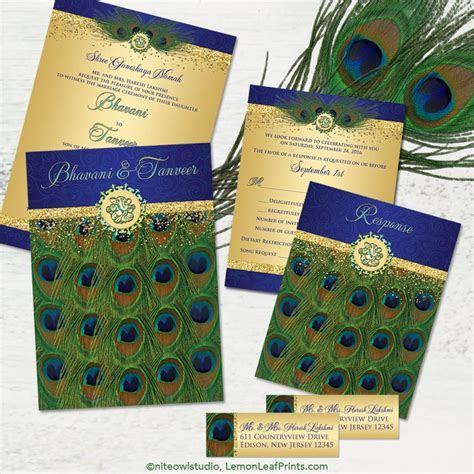 Hindu Ganesh peacock feather wedding invitation in royal