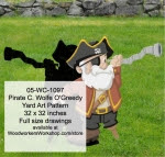 Pirate C. Wolfe O Greedy Yard Art Woodworking Pattern - fee plans from WoodworkersWorkshop® Online Store - pirates,childrens,kids,swords,childs,buchaneers,Halloween,yard art,painting wood crafts,jigsawing patterns,drawings,jig sawing plywood,plywoodworking plans,woodworkers projects,workshop blueprints